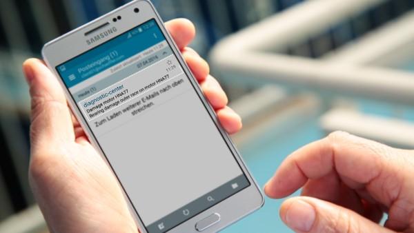 """借助""""ConditionAnalyzer""""数字服务,机器操作员可以通过电子邮件接收通知,并可以在移动终端设备上轻松查看。"""